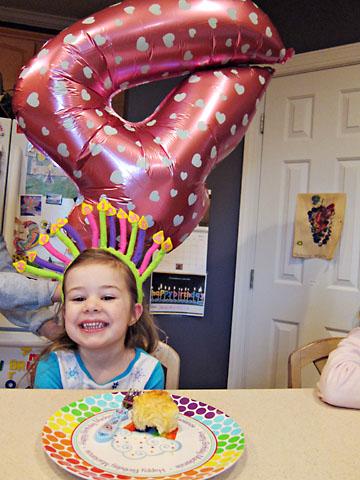 bday 4 balloon and headband
