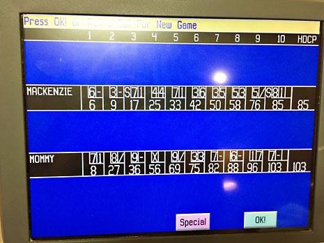 bday bowling score